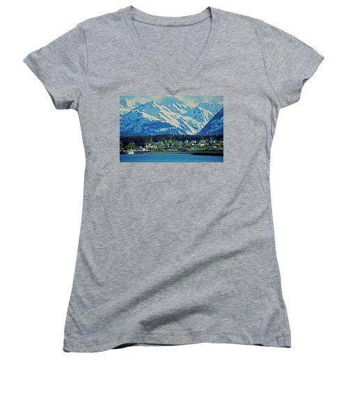 Haines - Alaska Women's V-Neck T-Shirt (Junior Cut) by Juergen Weiss