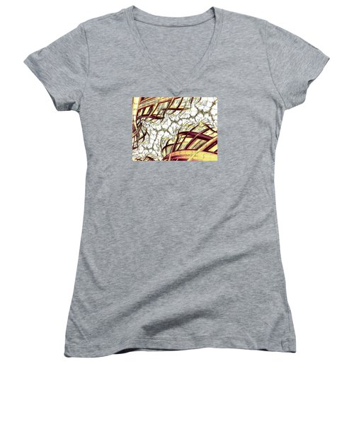 Women's V-Neck featuring the digital art Hairline Fracture by Vix Edwards