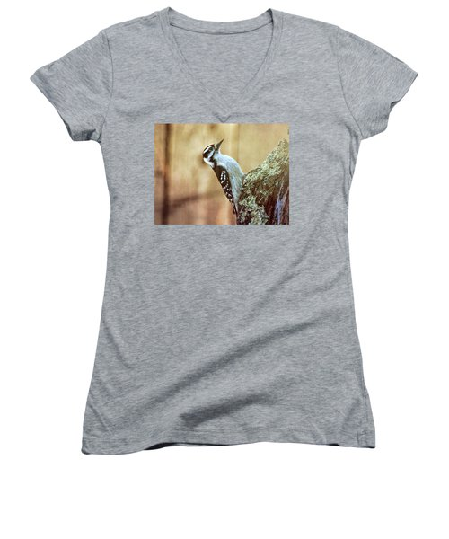 Hairy Woodpecker Women's V-Neck T-Shirt