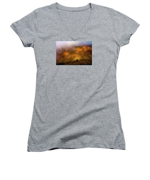 Women's V-Neck T-Shirt (Junior Cut) featuring the photograph Haleakala Halo by M G Whittingham