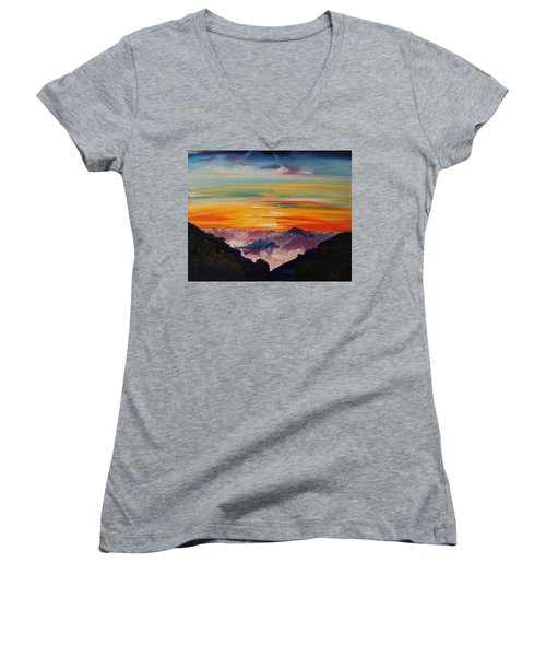 Haleakala Volcano Sunrise In Maui      101 Women's V-Neck (Athletic Fit)