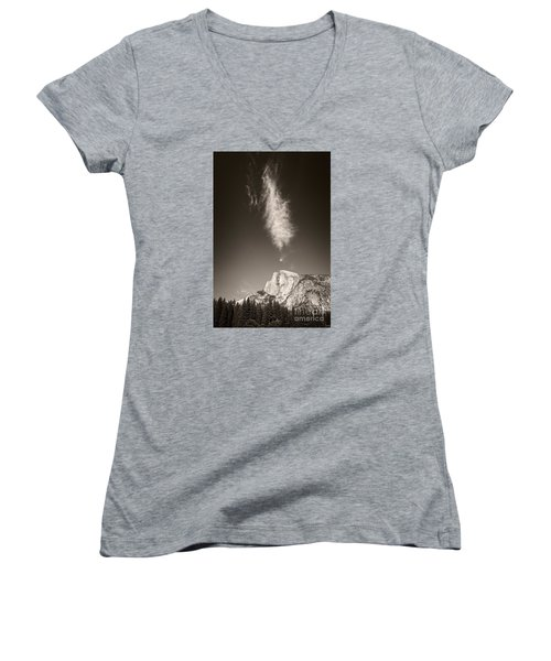 Half Dome And Cloud Women's V-Neck T-Shirt