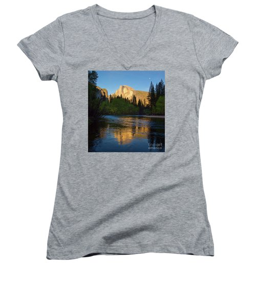 Half Dome And The Merced River With The Moon Women's V-Neck T-Shirt