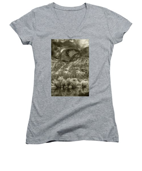 Half Dome Over Mirror Lake Women's V-Neck (Athletic Fit)