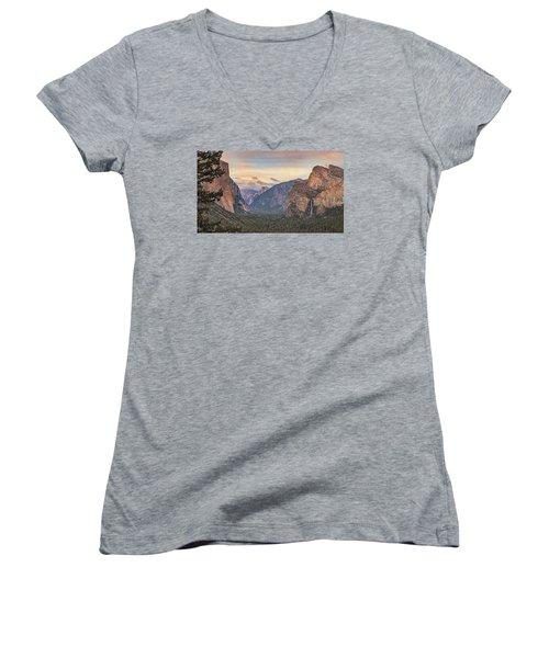 Women's V-Neck T-Shirt (Junior Cut) featuring the photograph Yosemite Sunset by Harold Rau