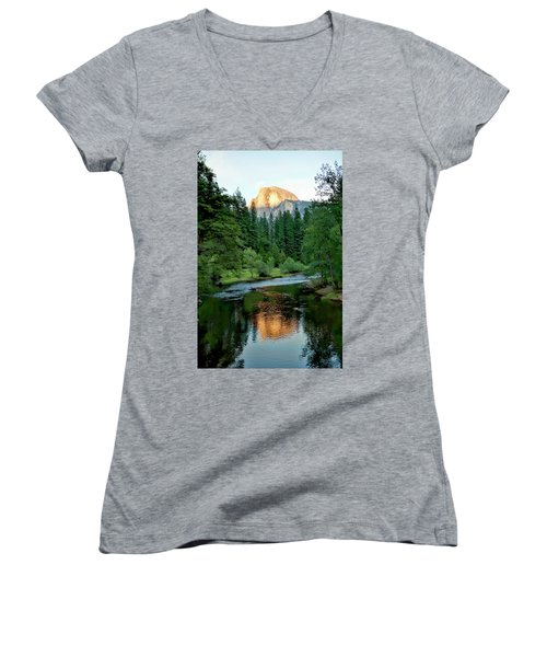 Half Dome Warmed By Setting Sun Women's V-Neck T-Shirt