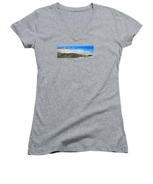 Half Moon Bay Women's V-Neck T-Shirt (Junior Cut) by Holly Blunkall