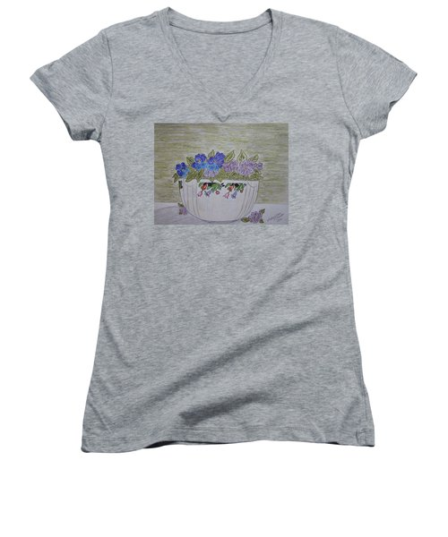 Women's V-Neck T-Shirt (Junior Cut) featuring the painting Hall China Crocus Bowl With Violets by Kathy Marrs Chandler