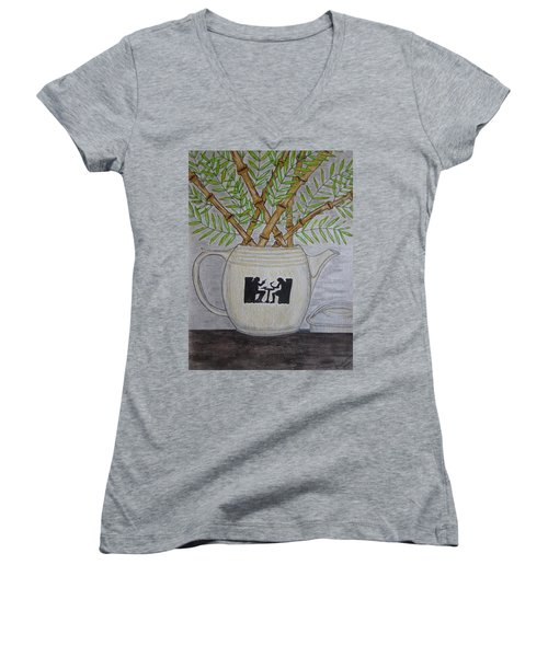 Women's V-Neck T-Shirt (Junior Cut) featuring the painting Hall China Silhouette Pitcher With Bamboo by Kathy Marrs Chandler