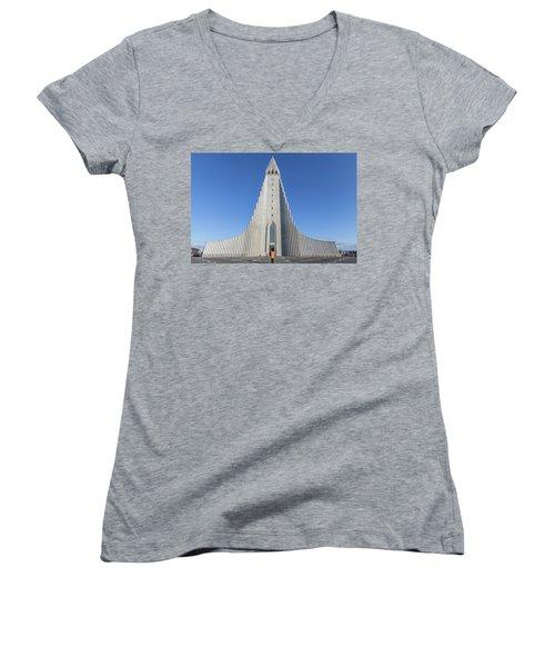 Hallgrimskirka Women's V-Neck T-Shirt (Junior Cut) by Wade Courtney