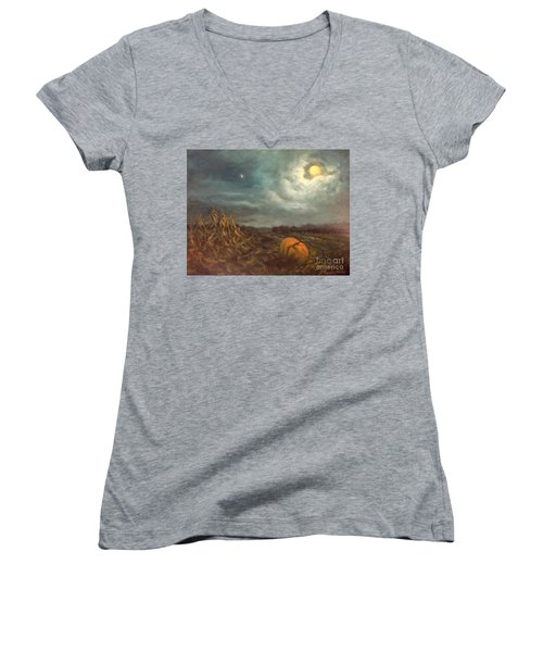 Halloween Mystery Under A Star And The Moon Women's V-Neck T-Shirt (Junior Cut) by Randy Burns