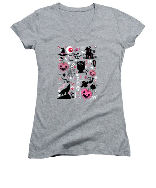 Halloween Night  Women's V-Neck T-Shirt (Junior Cut) by Mark Ashkenazi