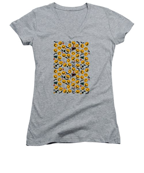 Halloween Party  Women's V-Neck T-Shirt (Junior Cut) by Mark Ashkenazi