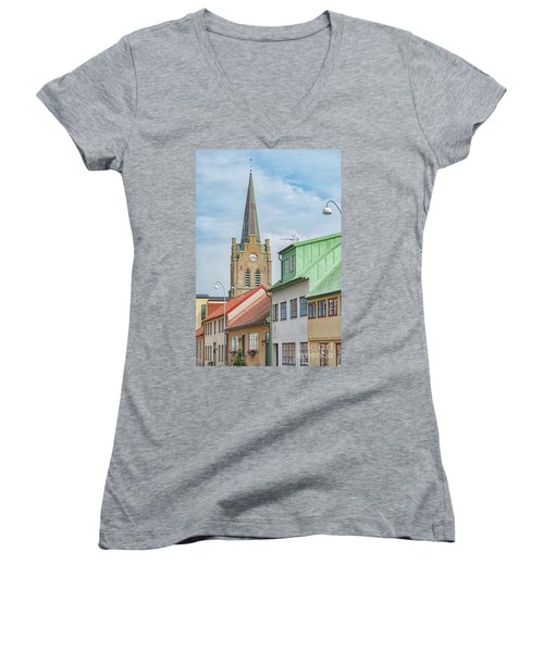 Women's V-Neck T-Shirt (Junior Cut) featuring the photograph Halmstad Street Scene by Antony McAulay