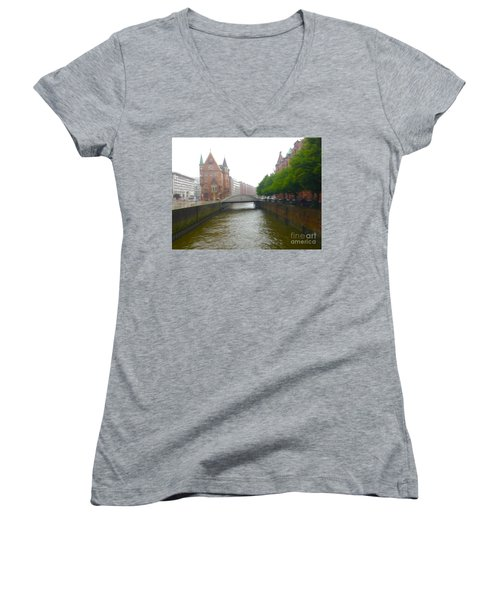 Hamburg Germany Canal Women's V-Neck