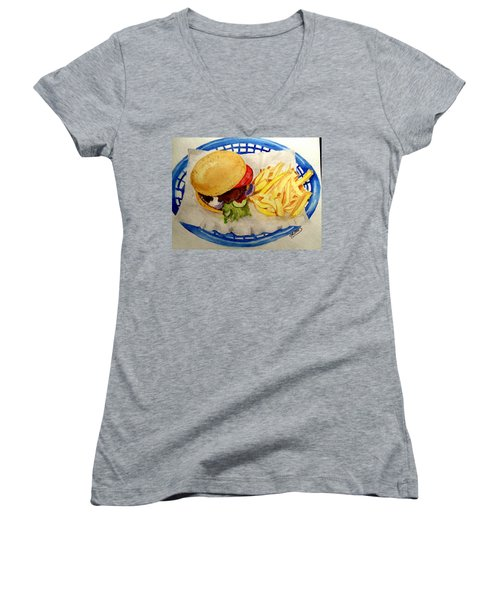 Women's V-Neck T-Shirt (Junior Cut) featuring the painting Hamburger Basket #2 by Carol Grimes