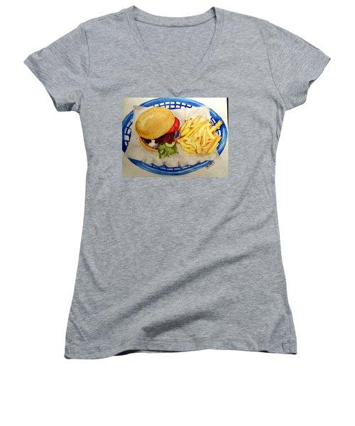 Hamburger Basket #2 Women's V-Neck T-Shirt