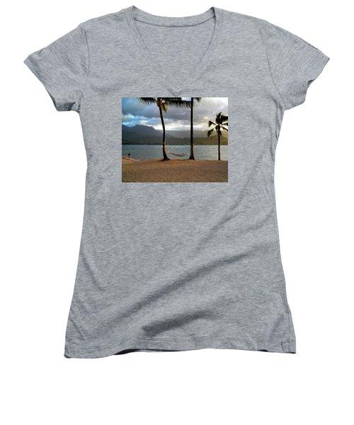 Hammock At Hanalei Bay Women's V-Neck T-Shirt