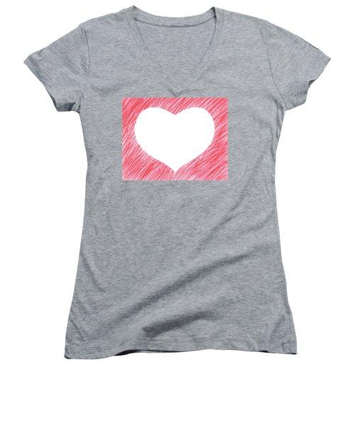 Hand-drawn Red Heart Shape Women's V-Neck