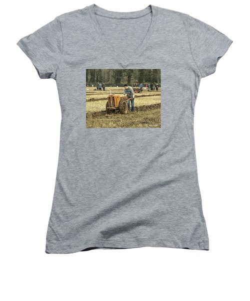 Hand Held Tractor Plough Women's V-Neck T-Shirt (Junior Cut) by Roy McPeak
