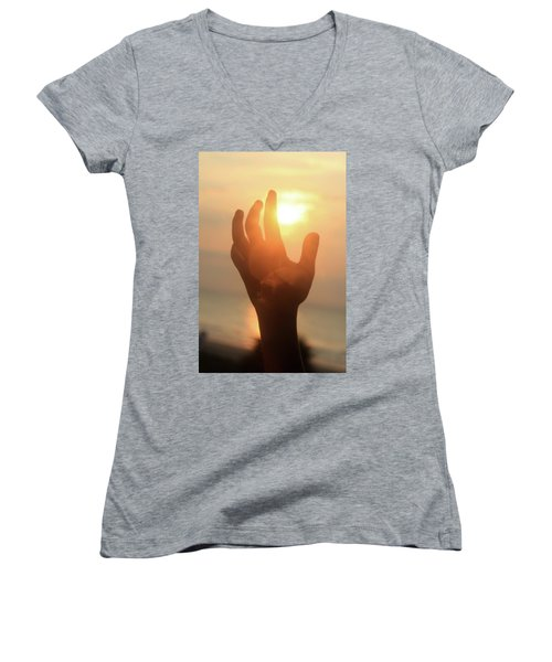 Hand Reaching Fore The Sun Women's V-Neck