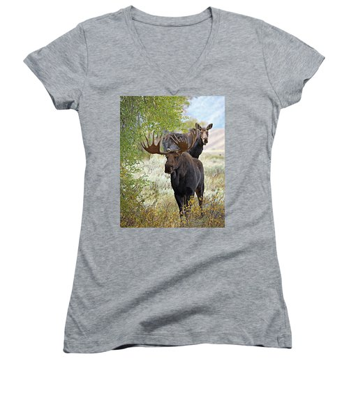 Handsome Bull With Cow Women's V-Neck