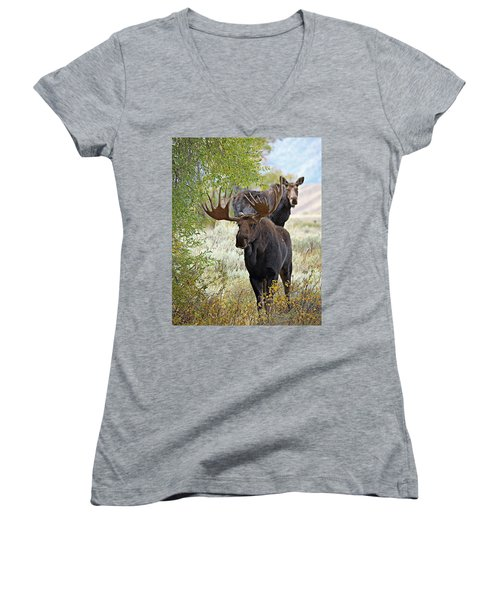 Handsome Bull With Cow Women's V-Neck T-Shirt