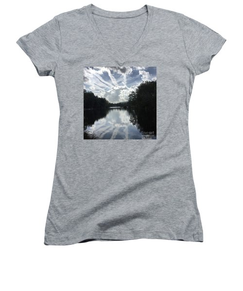 Handsome Cloud Women's V-Neck T-Shirt (Junior Cut) by Jason Nicholas