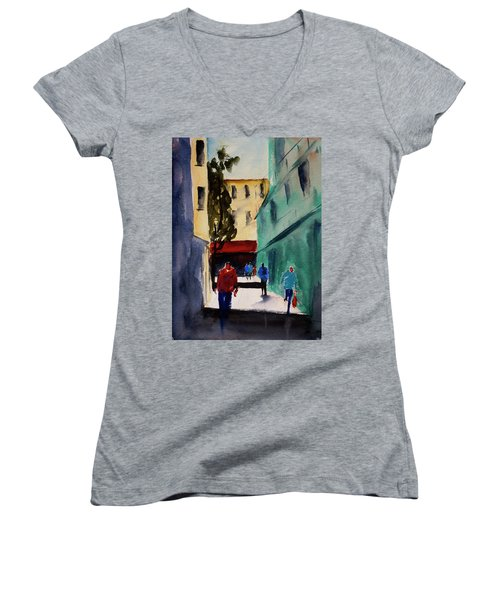 Hang Ah Alley1 Women's V-Neck T-Shirt