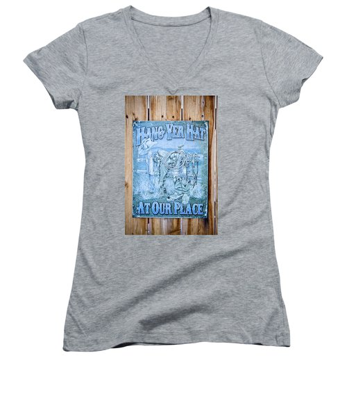 Hang Yer Hat At Our Place Women's V-Neck