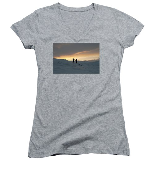 Women's V-Neck T-Shirt featuring the photograph Hanging Around Iceland by Dubi Roman