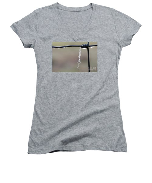 Women's V-Neck T-Shirt featuring the photograph Hanging By A Thread by Linda Lees