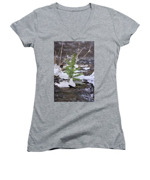 Women's V-Neck featuring the photograph Hanging In There by Ron Cline