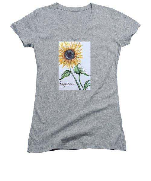 Happiness Women's V-Neck T-Shirt (Junior Cut) by Elizabeth Robinette Tyndall