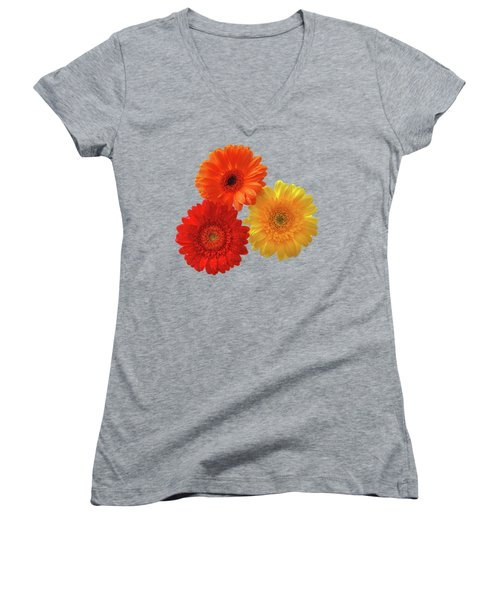 Happiness Orange Red And Yellow Gerbera On Blue Women's V-Neck