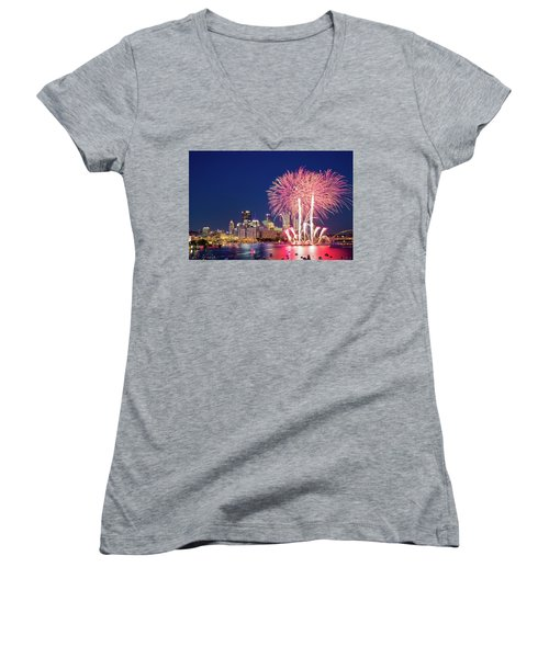 Happy 4th  Women's V-Neck (Athletic Fit)