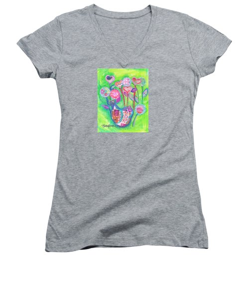 Happy Birthday Mindy Birdy Women's V-Neck T-Shirt (Junior Cut) by Shelley Overton
