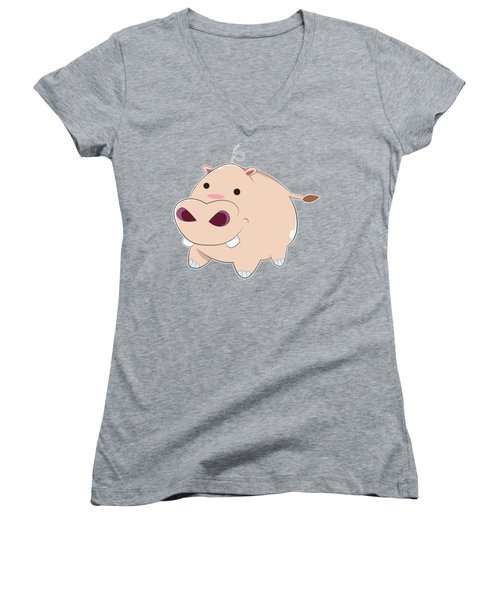 Happy Cartoon Baby Hippo Women's V-Neck T-Shirt (Junior Cut) by Catifornia Shop