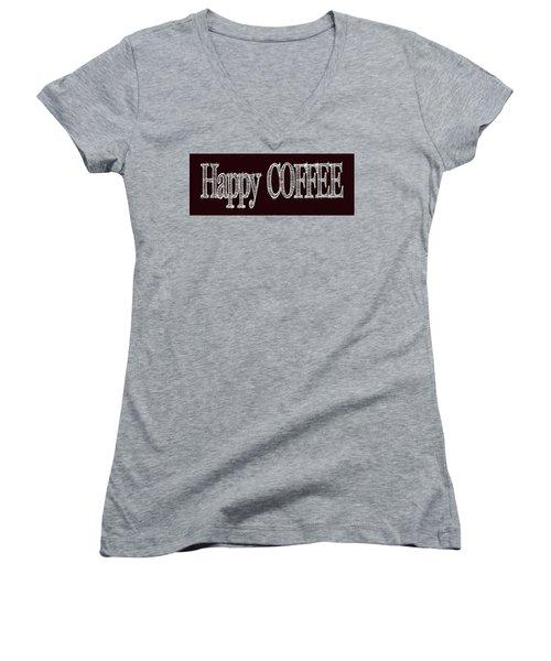 Happy Coffee Mug 2 Women's V-Neck T-Shirt (Junior Cut) by Robert J Sadler