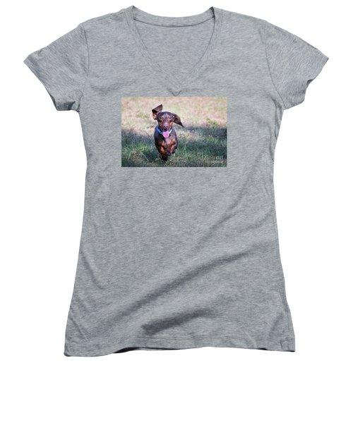 Happy Dachshund Women's V-Neck T-Shirt (Junior Cut) by Stephanie Hayes