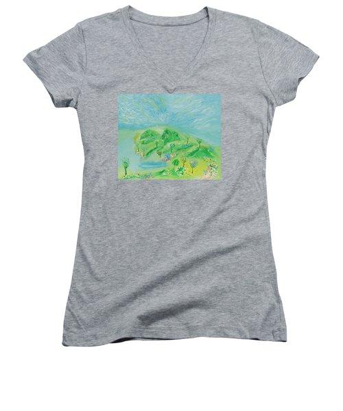 Happy Days. Landscape Women's V-Neck T-Shirt