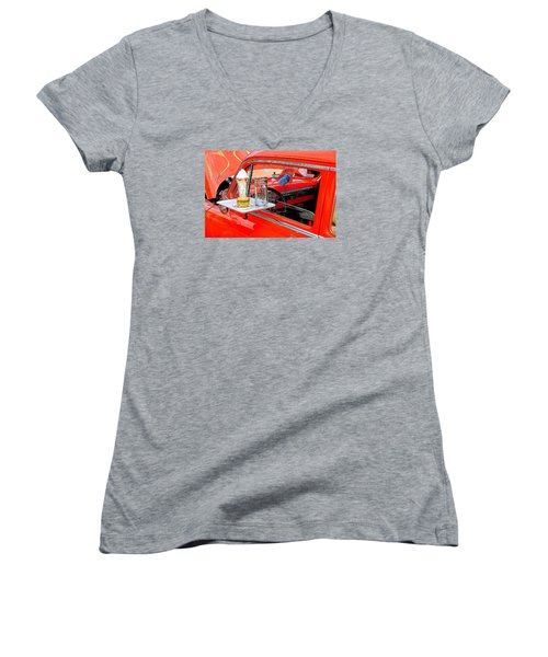 Happy Days Women's V-Neck T-Shirt (Junior Cut) by Louis Ferreira