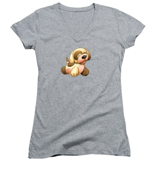 Happy Dog Women's V-Neck T-Shirt (Junior Cut) by Andy Catling