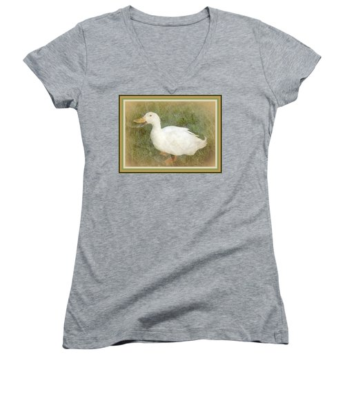 Happy Duck Portrait Women's V-Neck T-Shirt (Junior Cut) by Jodie Marie Anne Richardson Traugott          aka jm-ART