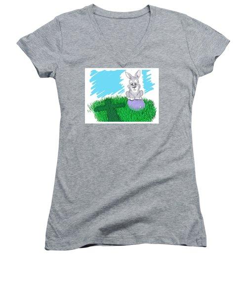 Happy Easter Women's V-Neck T-Shirt (Junior Cut) by Antonio Romero