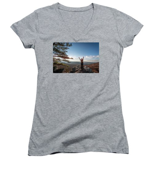 Happy Female Hiker At The Summit Of An Appalachian Mountain Women's V-Neck (Athletic Fit)