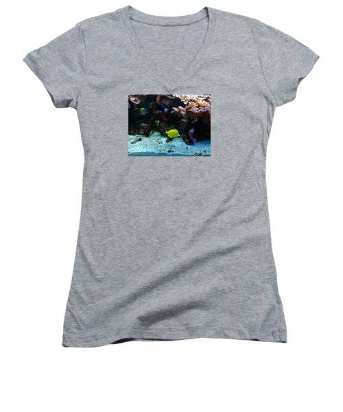Happy Fish At Panda Garden Restaurant Women's V-Neck T-Shirt (Junior Cut)