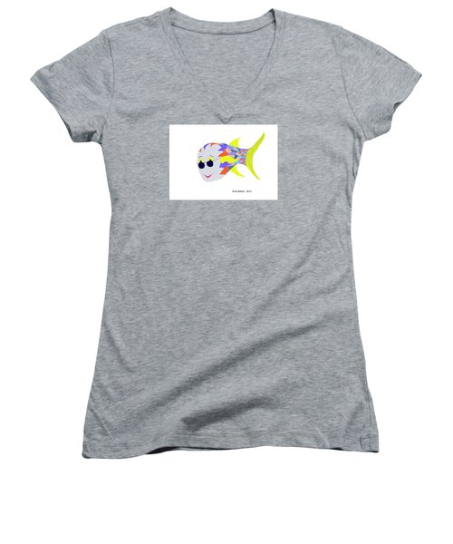 Happy Fish Touring Women's V-Neck T-Shirt (Junior Cut) by Fred Jinkins