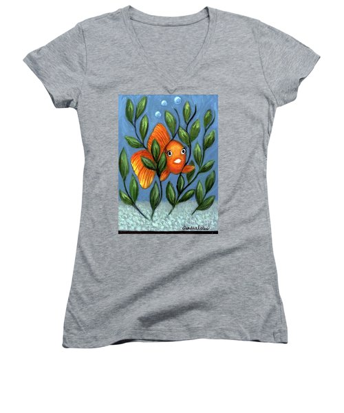Happy Goldfish Women's V-Neck T-Shirt (Junior Cut) by Sandra Estes