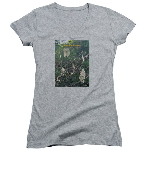 Happy Halloween Women's V-Neck T-Shirt (Junior Cut) by Deborah Dendler